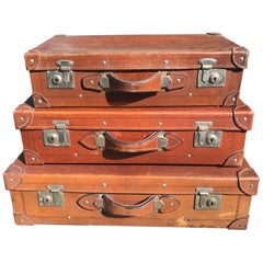 Japanese Antique Leather Travel Luggage Trio