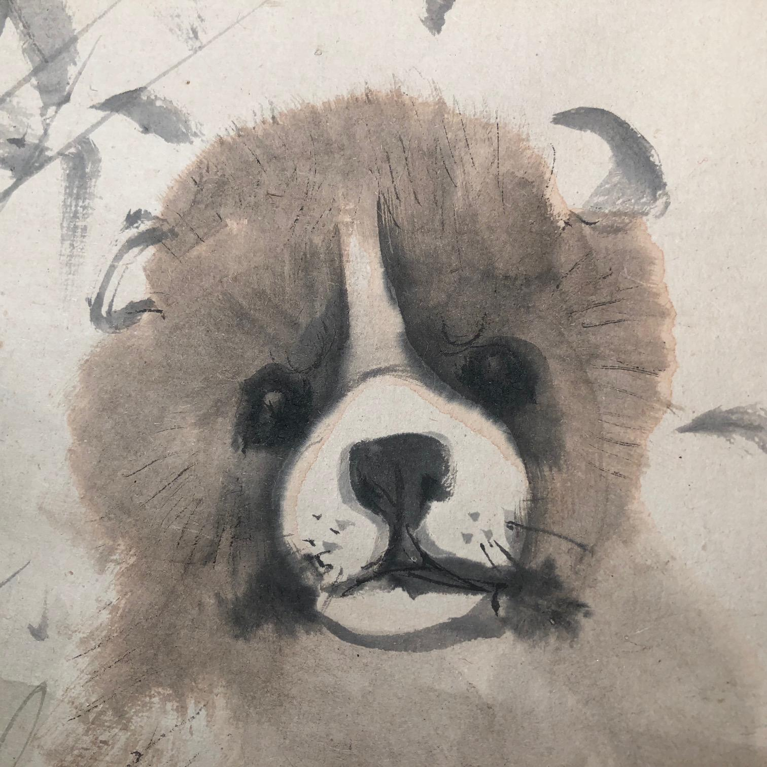 Japanese Loveable Puppy Hand-Painted Scroll