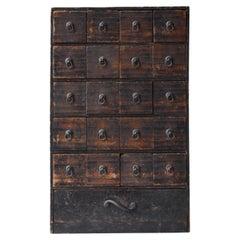 Japanese Antique Medicine Chest 1860s-1920s/Drawer Storage Cabinet Wabisabi art