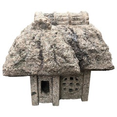 "Japanese Antique ""Minka"" House Stone Lantern, Hand Carved Granite, Fine Quality"