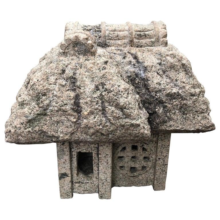 "Japanese Antique ""Minka"" House Stone Lantern, Hand Carved Granite, Fine Quality For Sale"