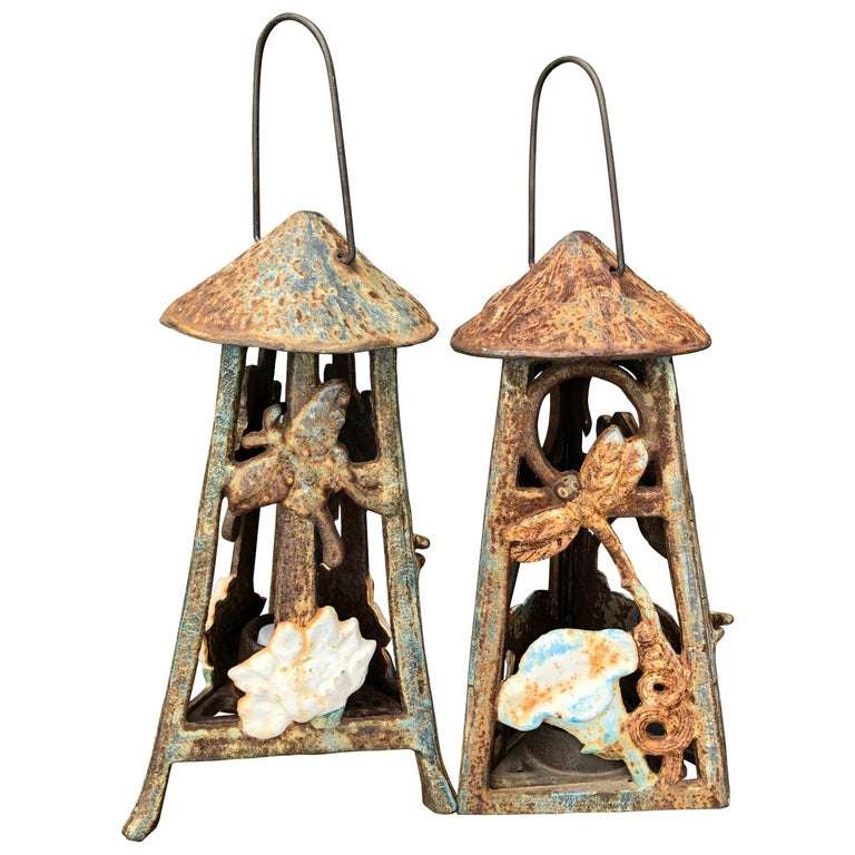 "Japanese Antique Pair of Art Nouveau ""Butterfly & Dragonfly"" Lanterns, Rare Find For Sale"