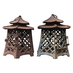 "Japanese Antique Pair Lanterns ""Double Pagoda"" Motif, Rare Find"