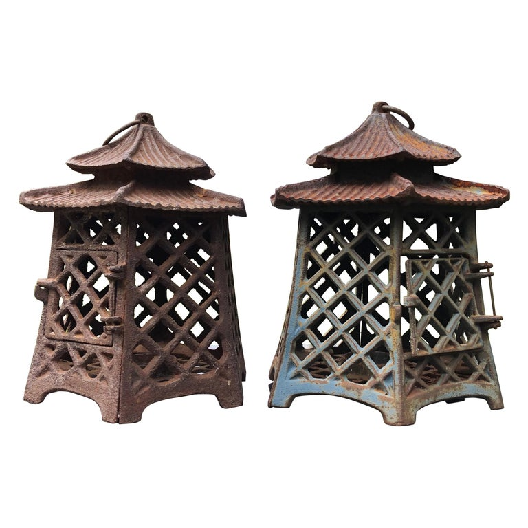 """Japanese Antique Pair Lanterns """"Double Pagoda"""" Motif, Rare Find For Sale"""