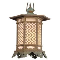 Japanese Antique Pair Fine Bronze Pendant Lantern Light Fixtures Immediate Use