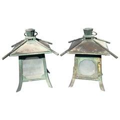 Japanese Antique Pair of Fine Copper Pendant Lantern Light Fixtures