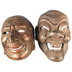 Japanese Antique Pair of Noh Masks with Fine Details, Signed, 19th Century