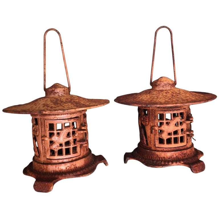 "Japanese Tea Garden ""Bird & Bamboo"" Lanterns Pair, Burnt Orange Patina For Sale"