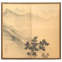 Japanese Antique Peaceful Zen Screen, Moon Light, Misty Mountains & Water Fall