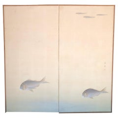 "Japanese Antique Peaceful Zen Screen, ""Swimming Fish"", Two Panels"