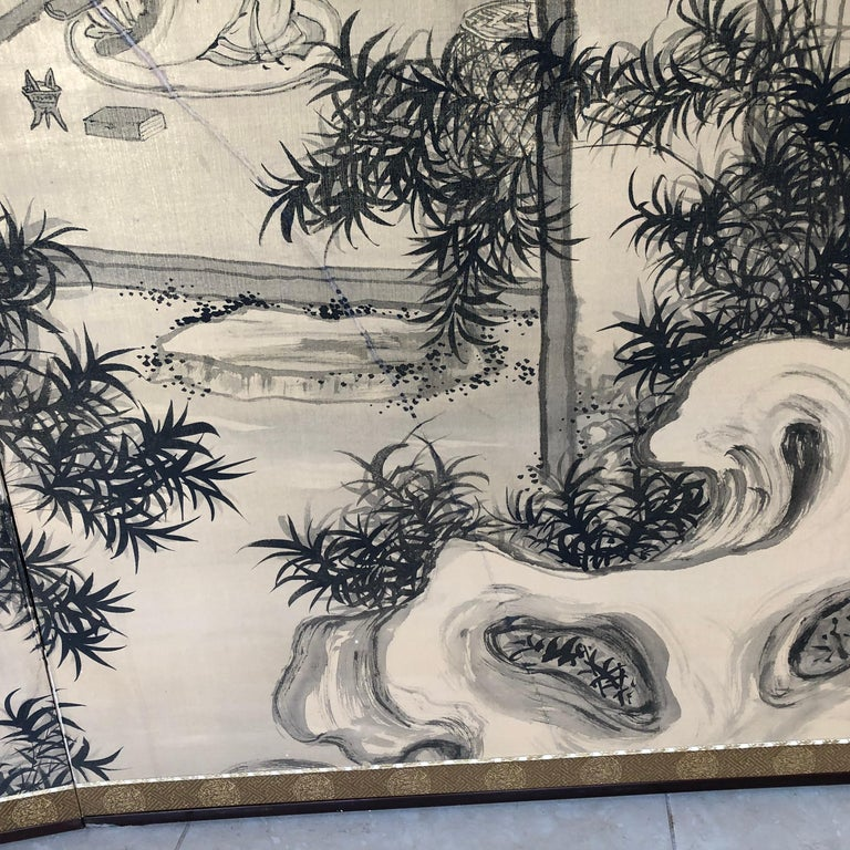 Japanese Antique Peaceful Zen Silk Screen, Scholar, Bamboo, and Water Fall For Sale 4