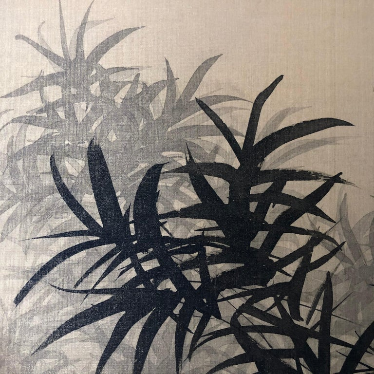 Japanese Antique Peaceful Zen Silk Screen, Scholar, Bamboo, and Water Fall For Sale 5