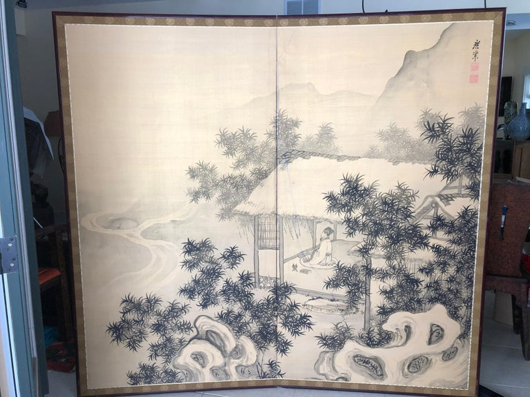 Japanese Antique Peaceful Zen Silk Screen, Scholar, Bamboo, and Water Fall For Sale 8