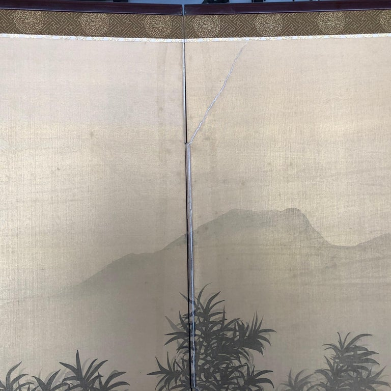Japanese Antique Peaceful Zen Silk Screen, Scholar, Bamboo, and Water Fall For Sale 9