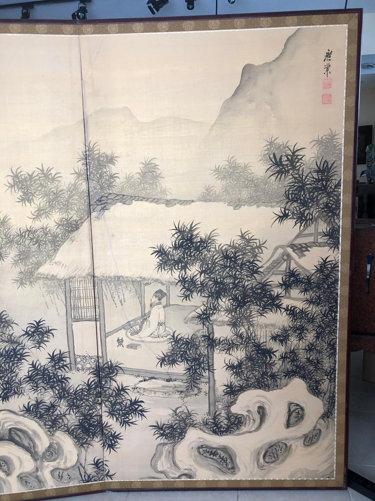 Taisho Japanese Antique Peaceful Zen Silk Screen, Scholar, Bamboo, and Water Fall For Sale