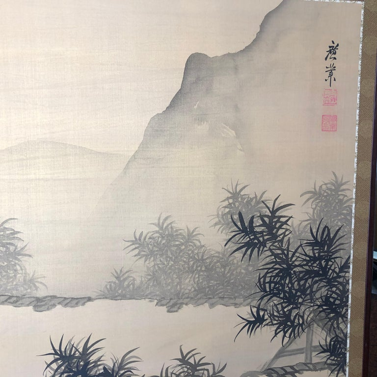 Hand-Painted Japanese Antique Peaceful Zen Silk Screen, Scholar, Bamboo, and Water Fall For Sale