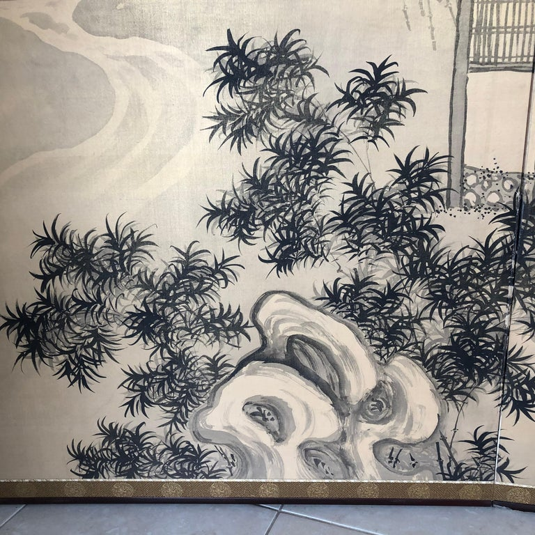 Japanese Antique Peaceful Zen Silk Screen, Scholar, Bamboo, and Water Fall In Good Condition For Sale In Shelburne, VT