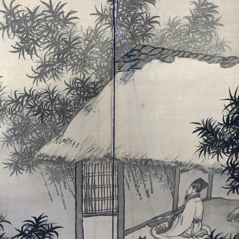 20th Century Japanese Antique Peaceful Zen Silk Screen, Scholar, Bamboo, and Water Fall For Sale