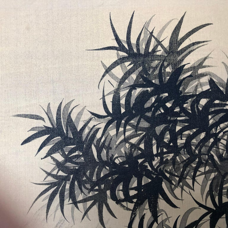 Japanese Antique Peaceful Zen Silk Screen, Scholar, Bamboo, and Water Fall For Sale 1