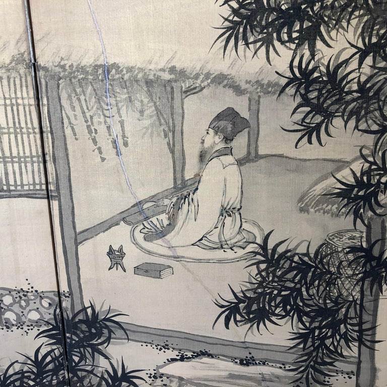 Japanese Antique Peaceful Zen Silk Screen, Scholar, Bamboo, and Water Fall For Sale 2