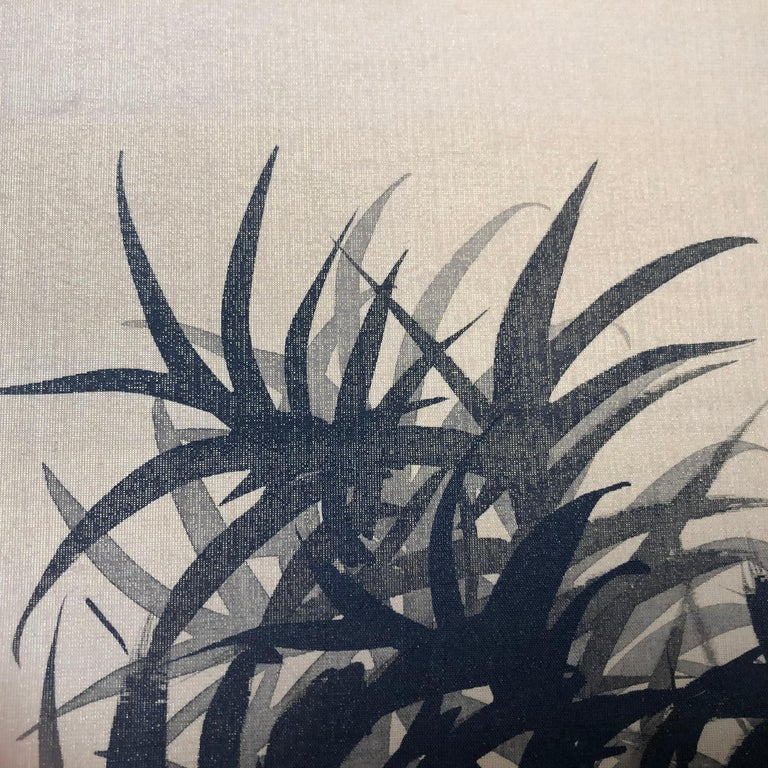 Japanese Antique Peaceful Zen Silk Screen, Scholar, Bamboo, and Water Fall For Sale 3