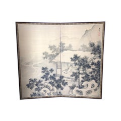 Japanese Antique Peaceful Zen Silk Screen, Scholar, Bamboo, and Water Fall