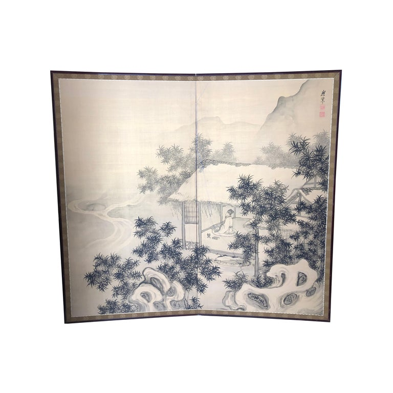 Japanese Antique Peaceful Zen Silk Screen, Scholar, Bamboo, and Water Fall For Sale