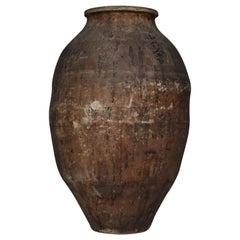 Japanese Antique Pottery 1800s-1900s Tsubo / Ceramic Jar Flower Vase Wabisabi