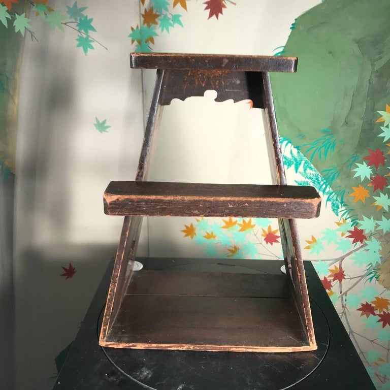 20th Century Japanese Antique Rabbit Hard Wood Step Stool, Usagi Rare Find For Sale