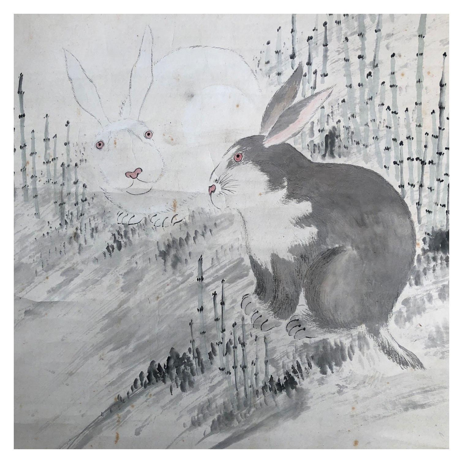 Japanese Rabbits Hand Painted Scroll