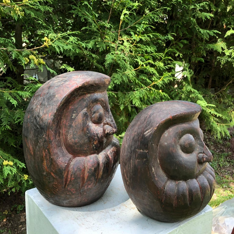 Japanese Antique Rare Pair of Hand Carved Daruma, Talismans for Good Luck For Sale 4