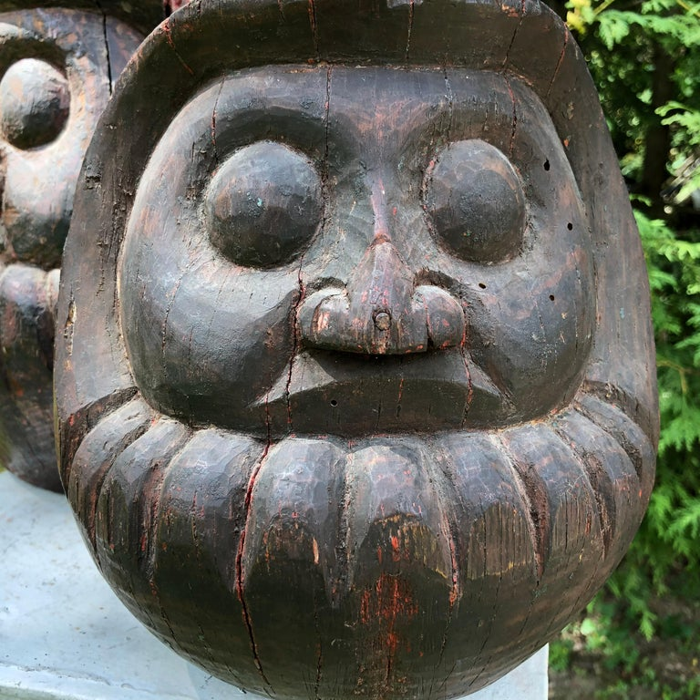 Japanese Antique Rare Pair of Hand Carved Daruma, Talismans for Good Luck For Sale 7