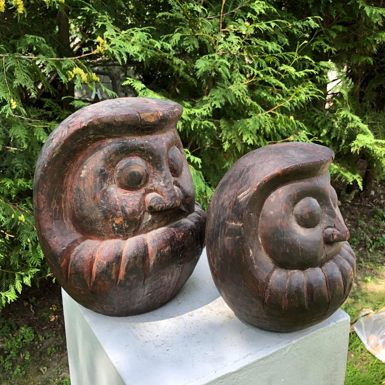 Meiji Japanese Antique Rare Pair of Hand Carved Daruma, Talismans for Good Luck For Sale