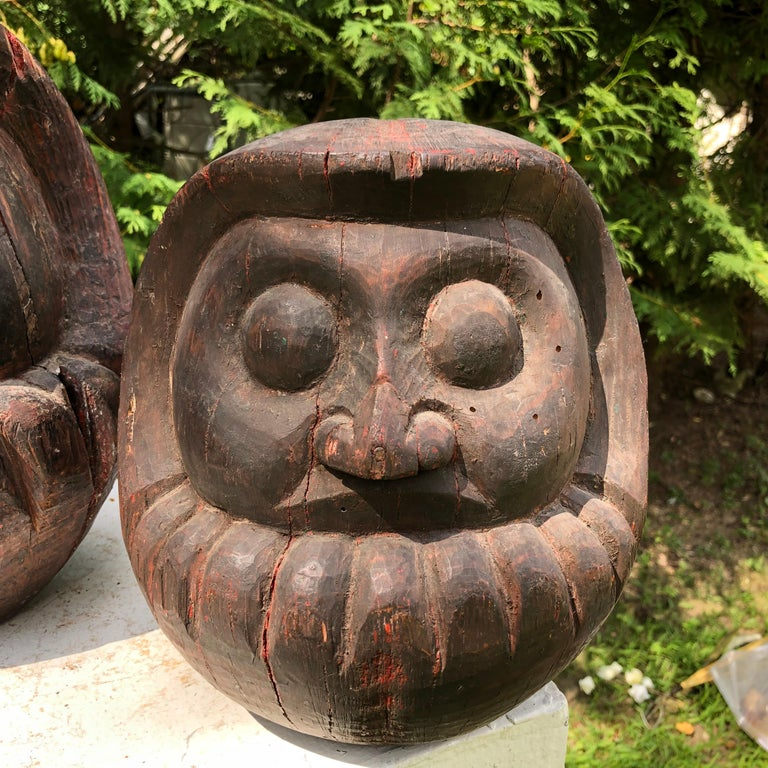 Lacquered Japanese Antique Rare Pair of Hand Carved Daruma, Talismans for Good Luck For Sale