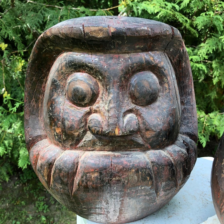 Japanese Antique Rare Pair of Hand Carved Daruma, Talismans for Good Luck In Good Condition For Sale In Shelburne, VT