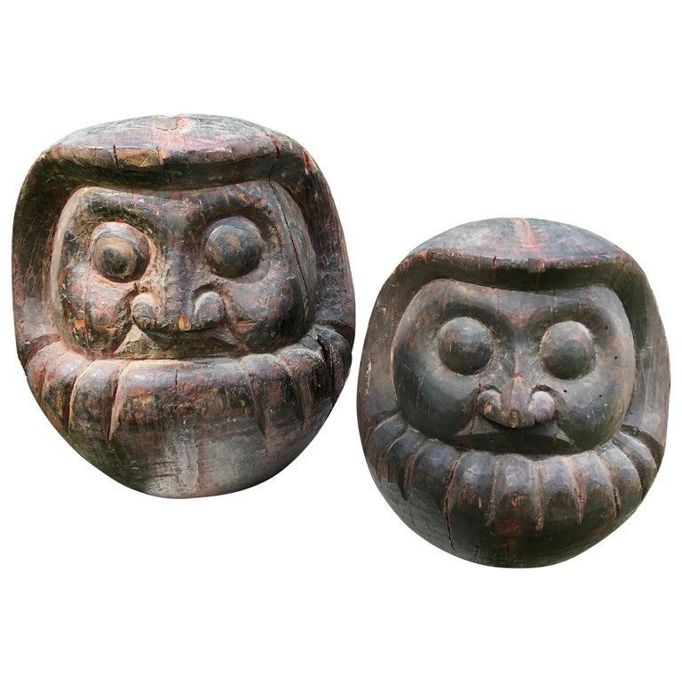 Japanese Antique Rare Pair of Hand Carved Daruma, Talismans for Good Luck For Sale
