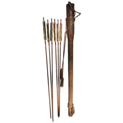 Japanese Antique Samurai Lacquered Quiver and Six Arrows, Signed, Rare Find