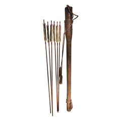 Japanese Antique Samurai Lacquered Quiver & Six Gold Arrows, Signed, Rare Find
