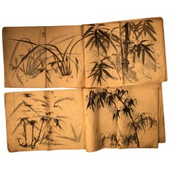 "Japanese Antique Set ""Bamboo & Grasses"" 30 Fine Hand Paintings Manuscript Album"