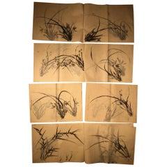 "Japanese Antique Set ""Bamboo & Grasses"" Fine Hand Paintings Manuscript Album"