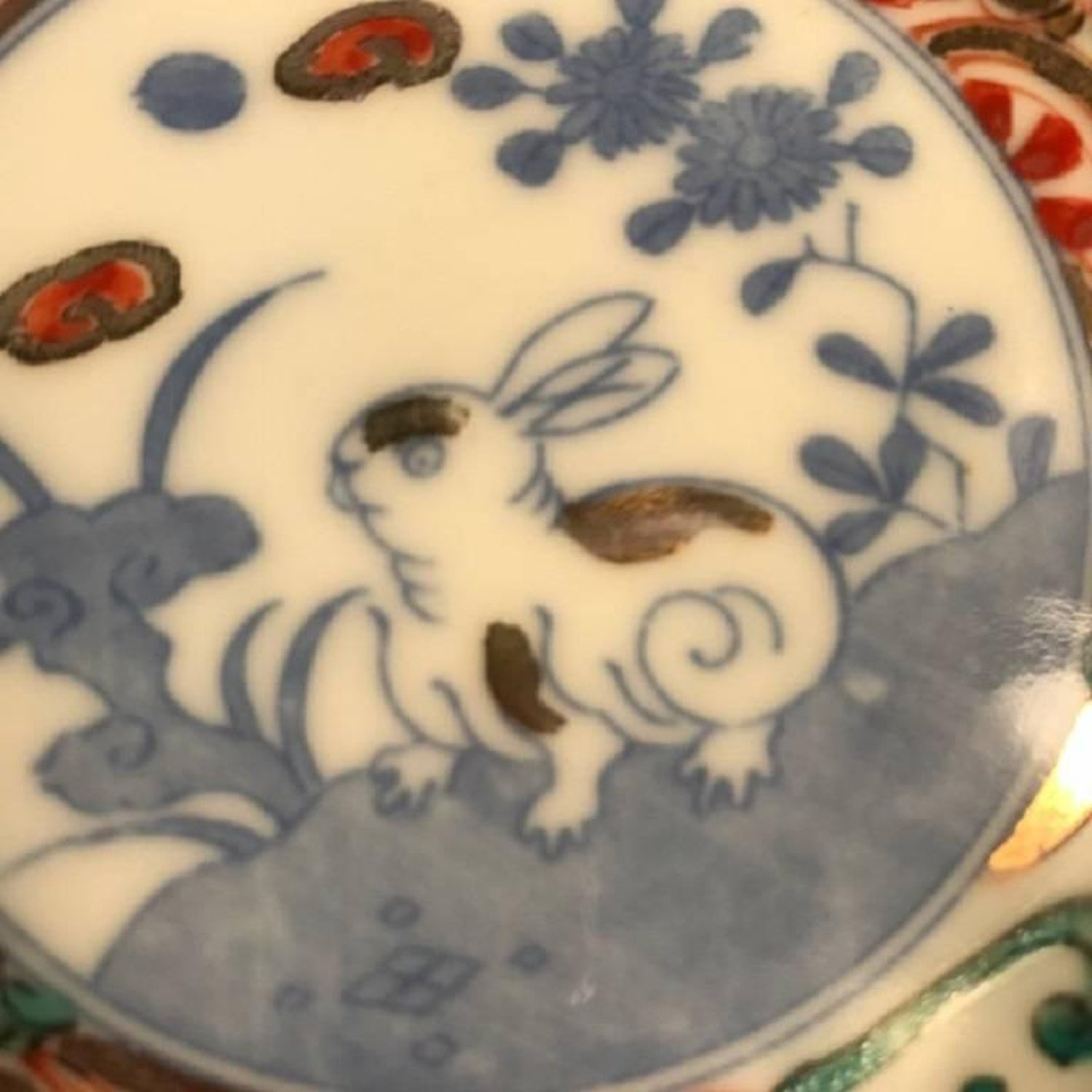 Japanese Antique Playful Rabbits Five Serving Plates and Fine ...