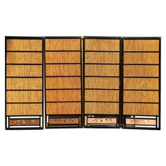 Japanese Set of Four Fine Black Lacquer Shoji Doors Screens Birds & Bamboo