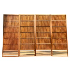 Japanese Antique Set Four Fine Natural Shoji Bamboo Doors Screens, Moon Horizon