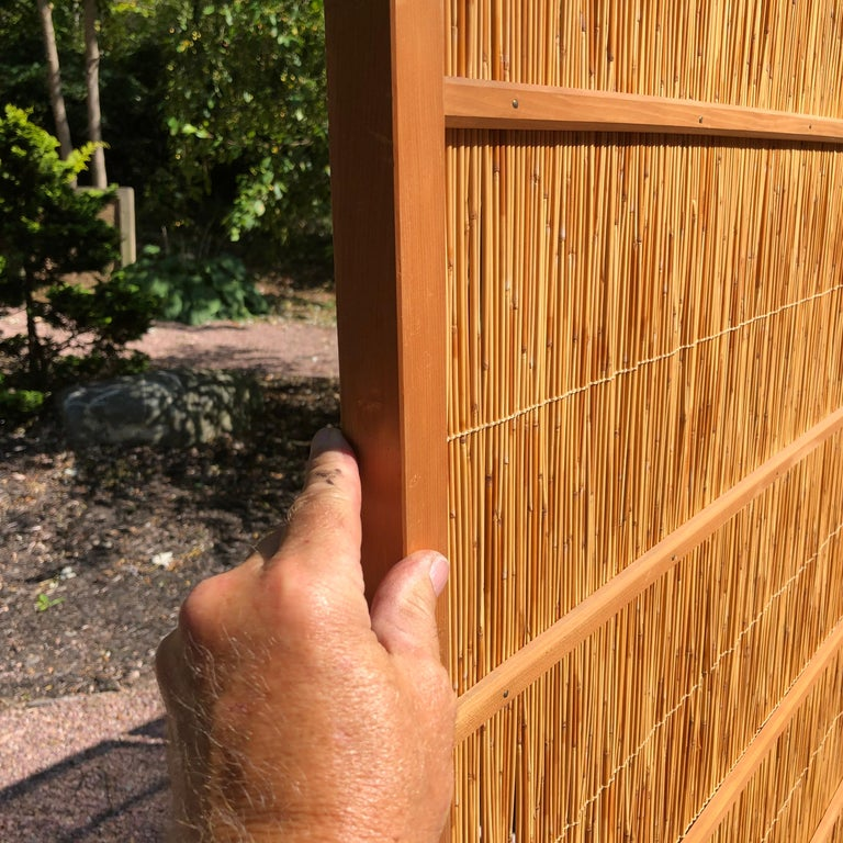 Japanese Antique Set Four Fine Natural Shoji Bamboo Doors Screens, Trees & Boats For Sale 4