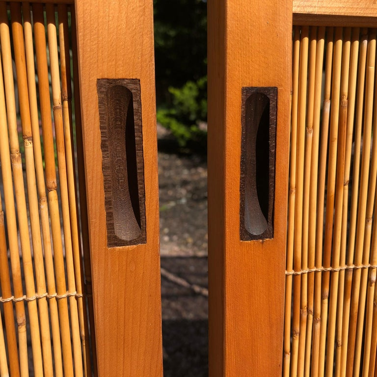 Japanese Antique Set Four Fine Natural Shoji Bamboo Doors Screens, Trees & Boats For Sale 6