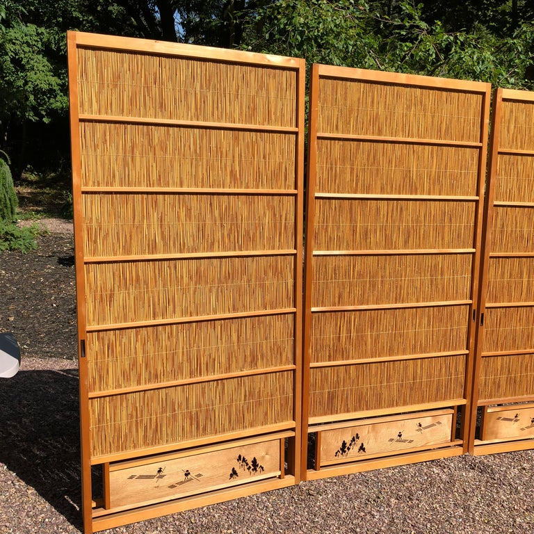 Japanese Antique Set Four Fine Natural Shoji Bamboo Doors Screens, Trees & Boats For Sale 7