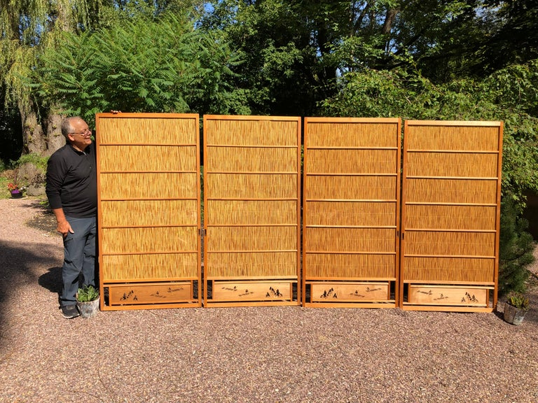Trees and boats accents  Japan, a fine set of four (4) antique shoji natural bamboo lacquered doors or screens recently acquired from a Japanese private collector. The hand carved bottom boards are artistically perforated with boats and