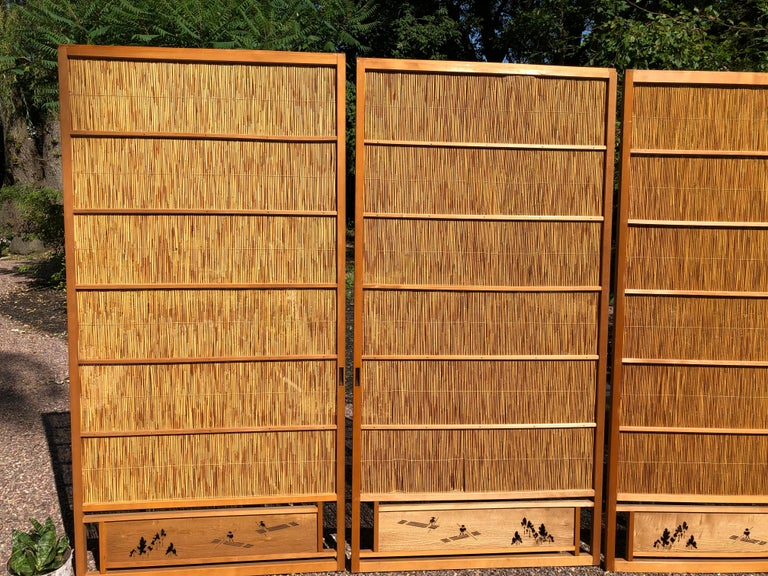 Showa Japanese Antique Set Four Fine Natural Shoji Bamboo Doors Screens, Trees & Boats For Sale