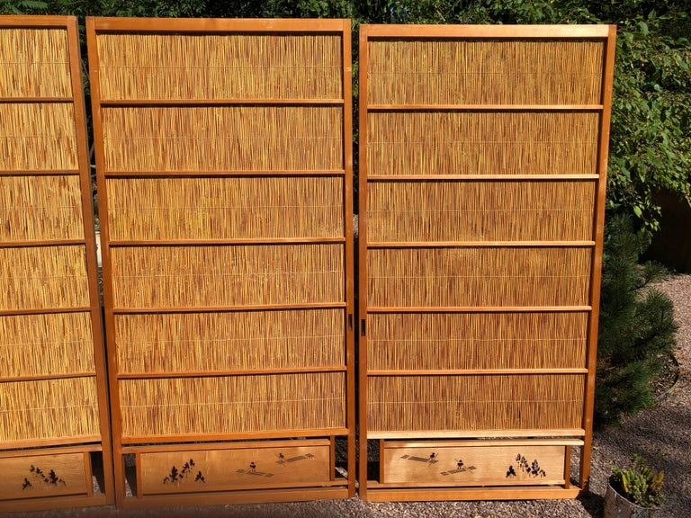 Hand-Crafted Japanese Antique Set Four Fine Natural Shoji Bamboo Doors Screens, Trees & Boats For Sale