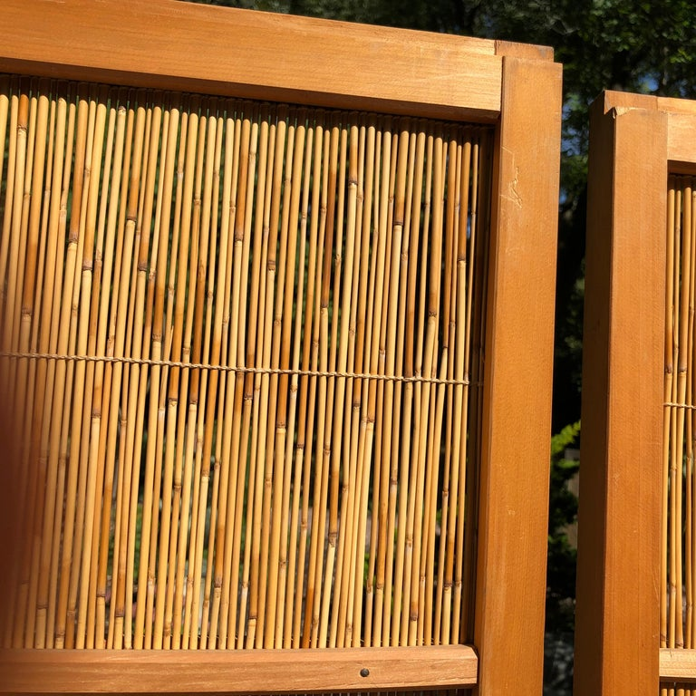 Japanese Antique Set Four Fine Natural Shoji Bamboo Doors Screens, Trees & Boats In Good Condition For Sale In Shelburne, VT